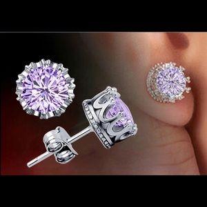 Purple Cubic Zirconia Crown Earrings